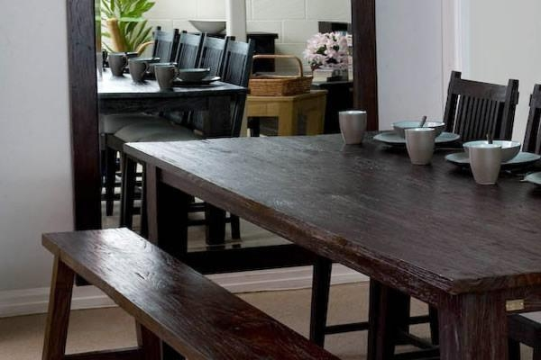 Large Rectangular Rustic Dining Table | Dark Wood Finish | Teak Throughout Bali Dining Tables (Image 10 of 15)
