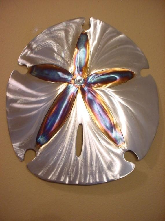 Large Sand Dollar Steel Wall Art Metal Ocean Beach House With Sand Dollar Wall Art (Image 7 of 20)