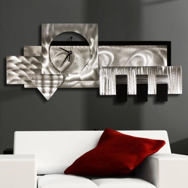 Large Silver/black 3D Wall Clock – Modern Abstract Metal Wall Art With Regard To 3D Metal Wall Art (Image 12 of 20)