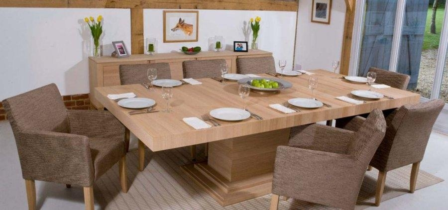 Large Square Oak Dining Table Seats 9 Corwell Best 25 Tables Ideas Regarding 2017 Square Oak Dining Tables (Image 11 of 20)