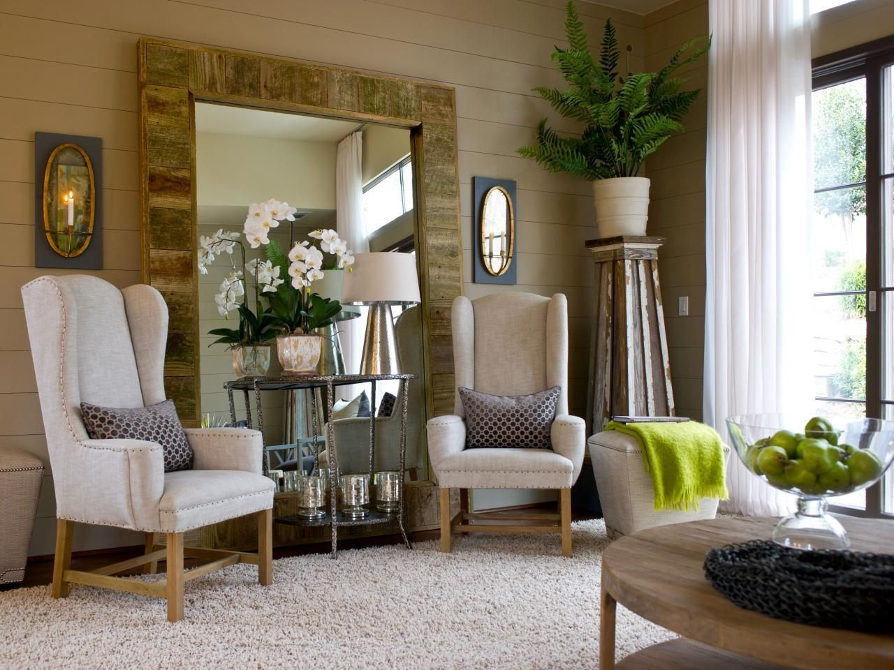 Large Standing Mirror With Natural Light Brown Wooden Varnished Within Modern Living Room Mirrors (Image 12 of 20)