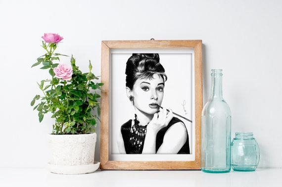 Large Wall Art Audrey Hepburn Art Print Of Pencil Drawing Within Glamorous Audrey Hepburn Wall Art (Image 18 of 20)