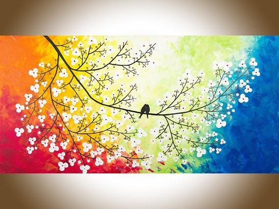 Large Wall Art Colourful Love Birds Art Red Yellow Orange Blue Regarding Orange And Blue Wall Art (Image 13 of 20)