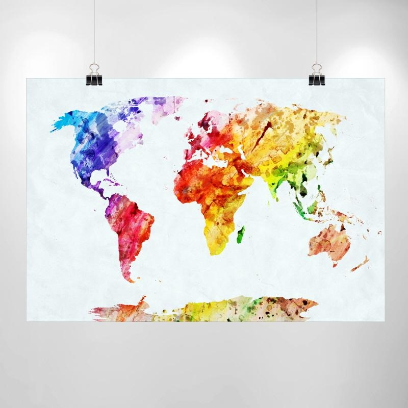 Large Watercolor World Map Print – Home Decor Print Poster Ikea Throughout Ikea Large Wall Art (View 19 of 20)