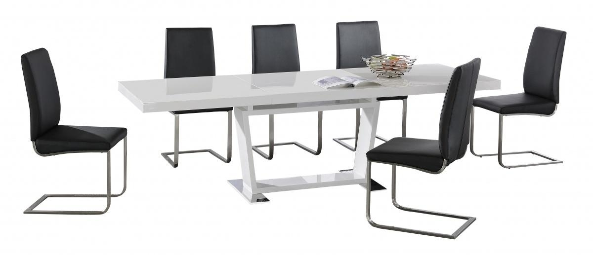 Large White High Gloss Extending Dining Table With 8 Black Chairs Within Most Recently Released Black Gloss Extending Dining Tables (View 7 of 20)