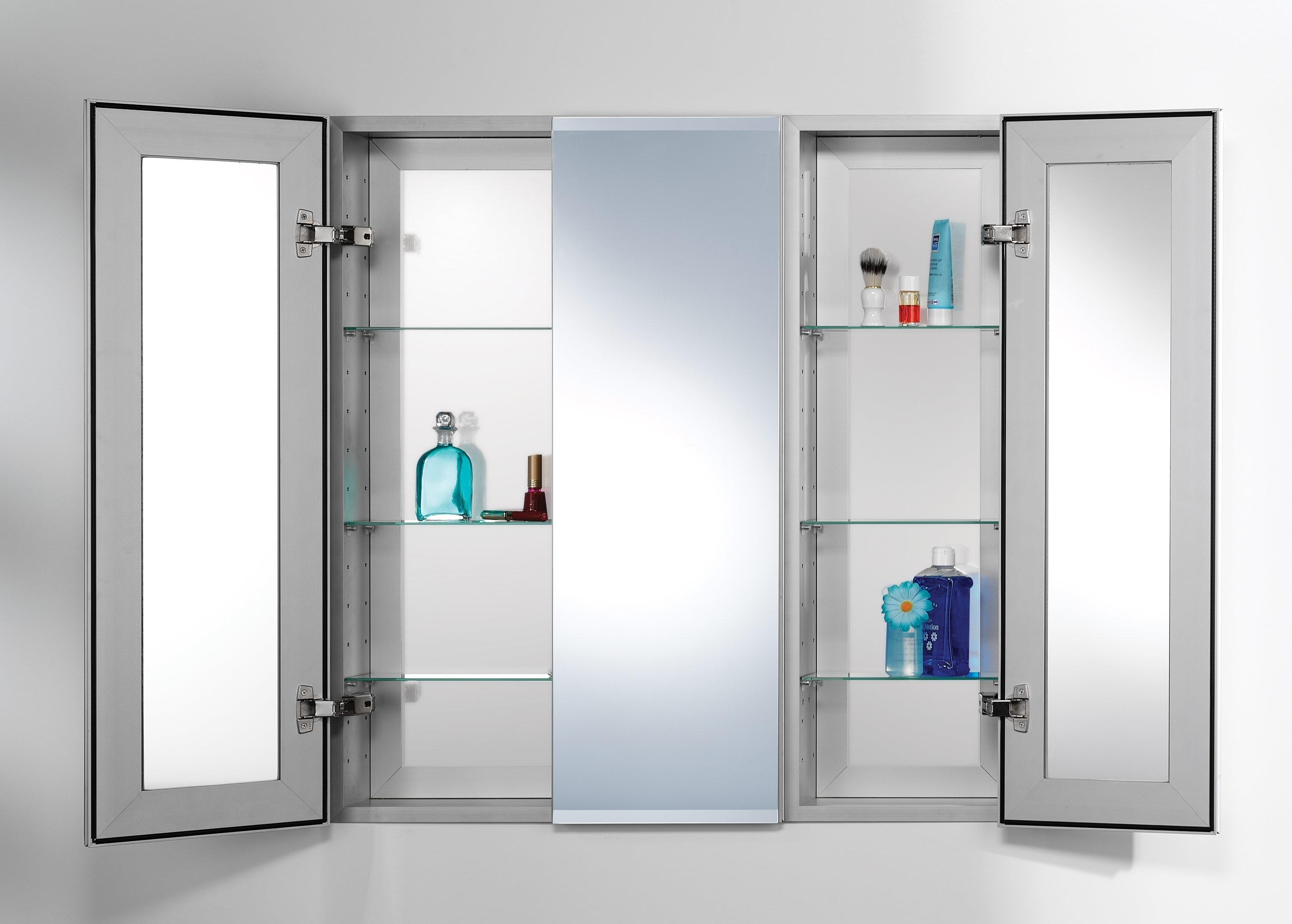 Large Wood 3 Door Bathroom Medicine Cabinet • Bathroom Cabinets For 3 Door Medicine Cabinets With Mirrors (Image 12 of 20)