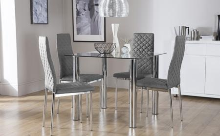 Latest Dining Table Sets Glass Glass Dining Table Chairs Glass In Current Chrome Dining Room Sets (View 8 of 20)