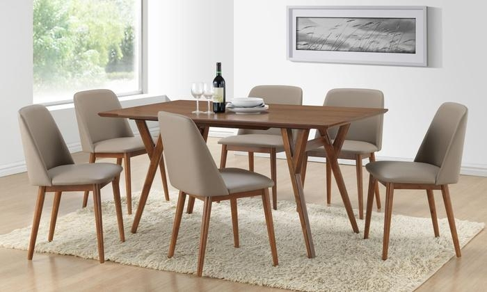 Lavin Dining Table With 6 Chairs | Groupon Goods With Most Current Dark Wood Dining Tables 6 Chairs (Image 16 of 20)