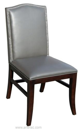 Leather Dining Chair With Espresso Wooden Legs In Brown, Grey And Within Grey Leather Dining Chairs (View 15 of 20)