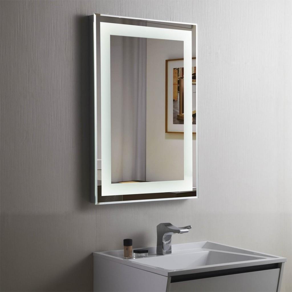 Led Bathroom Mirror Illuminated Lighted Vanity Wall Mounted Mirror With Lighted Vanity Wall Mirrors (Image 10 of 20)