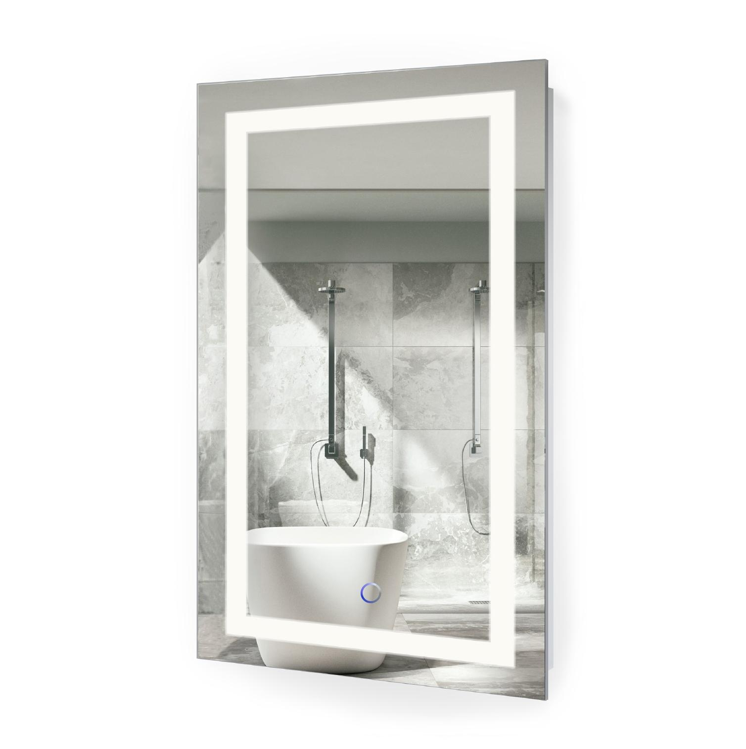 "Led Vanity Mirror 18""x30"" Bathroom Lighted Mirror With Dimmer Throughout Bathroom Lighted Vanity Mirrors (Image 14 of 20)"