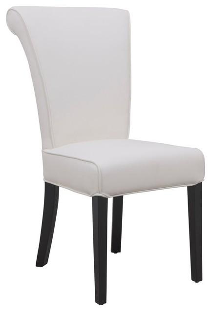Leisuremod Eden Contemporary Faux Leather Dining Chair, White In White Leather Dining Chairs (Image 14 of 20)