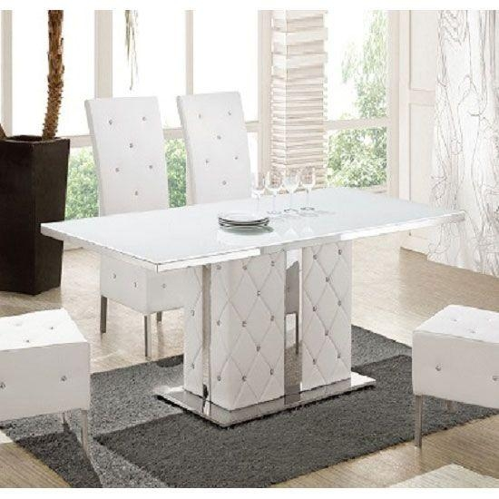 Levo Glass With High Gloss Base Rhinestones Dining Table | Scented Pertaining To Most Up To Date Glass Dining Tables White Chairs (Image 16 of 20)