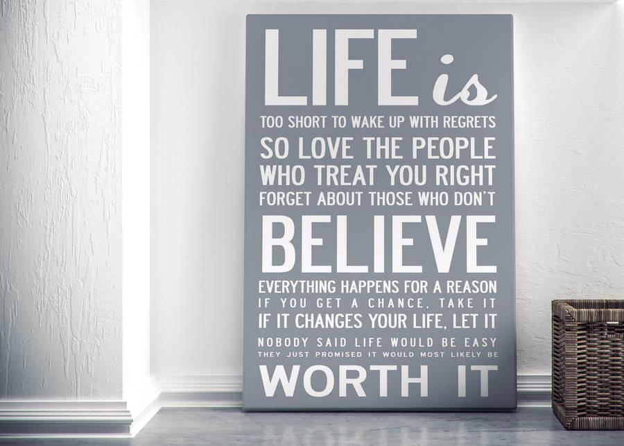 Life Is Too Short' Quote Print Or Canvasi Love Design Throughout Inspirational Quotes Canvas Wall Art (Image 11 of 20)