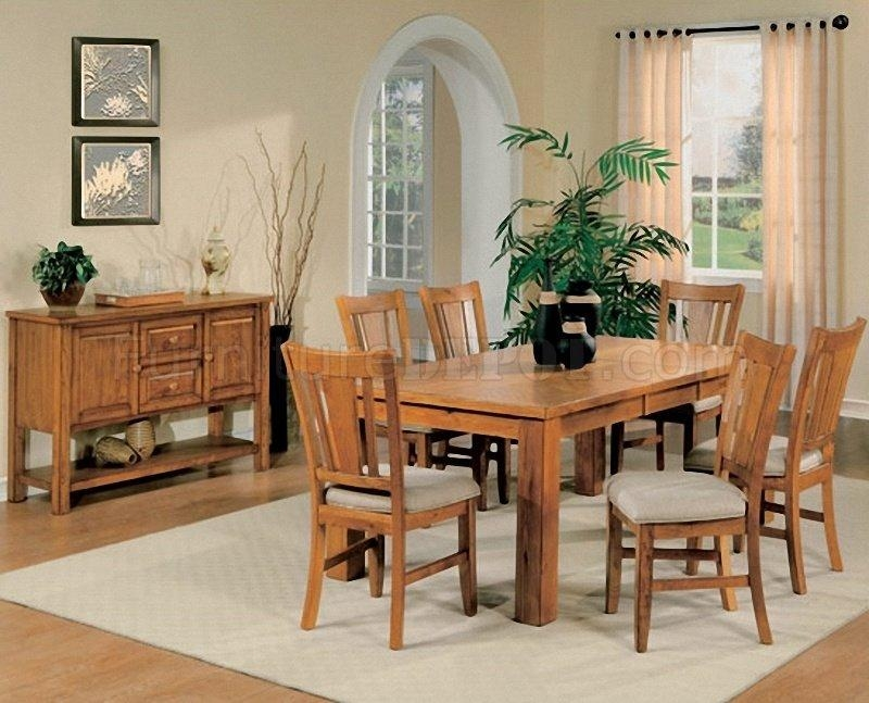 Light Oak Finish Casual Dining Room Table W/optional Chairs Pertaining To Most Current Oak Dining Tables And Chairs (Image 10 of 20)