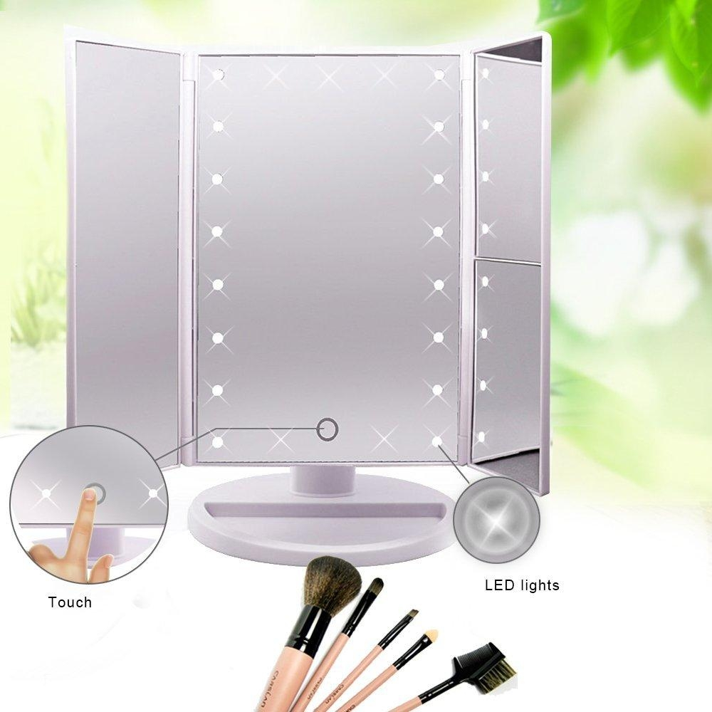 Lighted Makeup Mirror With Light, Tri Fold Illuminated Cosmetic Within Lit Makeup Mirrors (Image 17 of 20)
