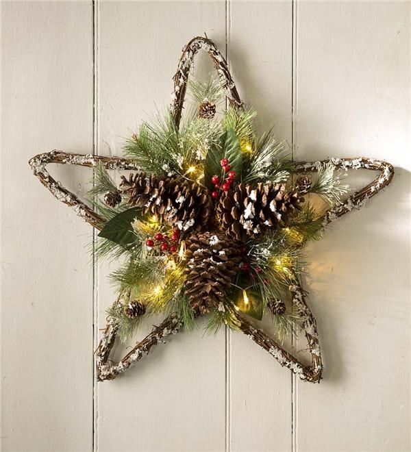 Lighted Pine Cone Star Wall Art | Holiday Lighting Throughout Pine Cone Wall Art (Image 10 of 20)