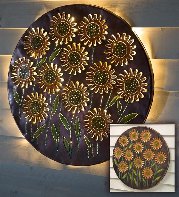 Lighted Sunflower Recycled Oil Drum Lid Wall Art | Metal Wall Art Throughout Metal Sunflower Wall Art (View 7 of 20)