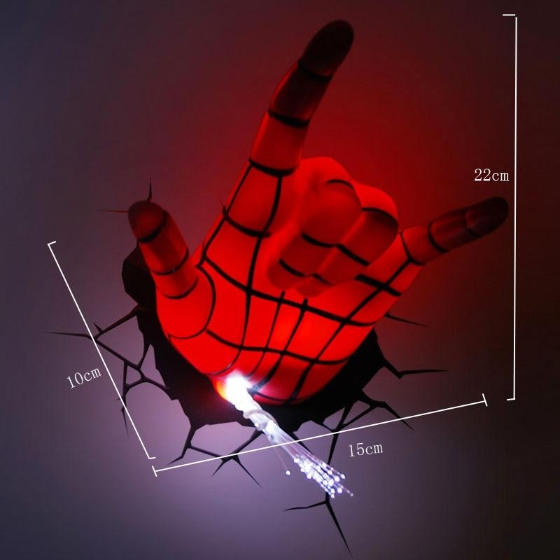 Lighting – Wall Lights – Marvel 3D Wall Nightlight – Spiderman Hand Inside 3D Wall Art Nightlight (Image 11 of 20)