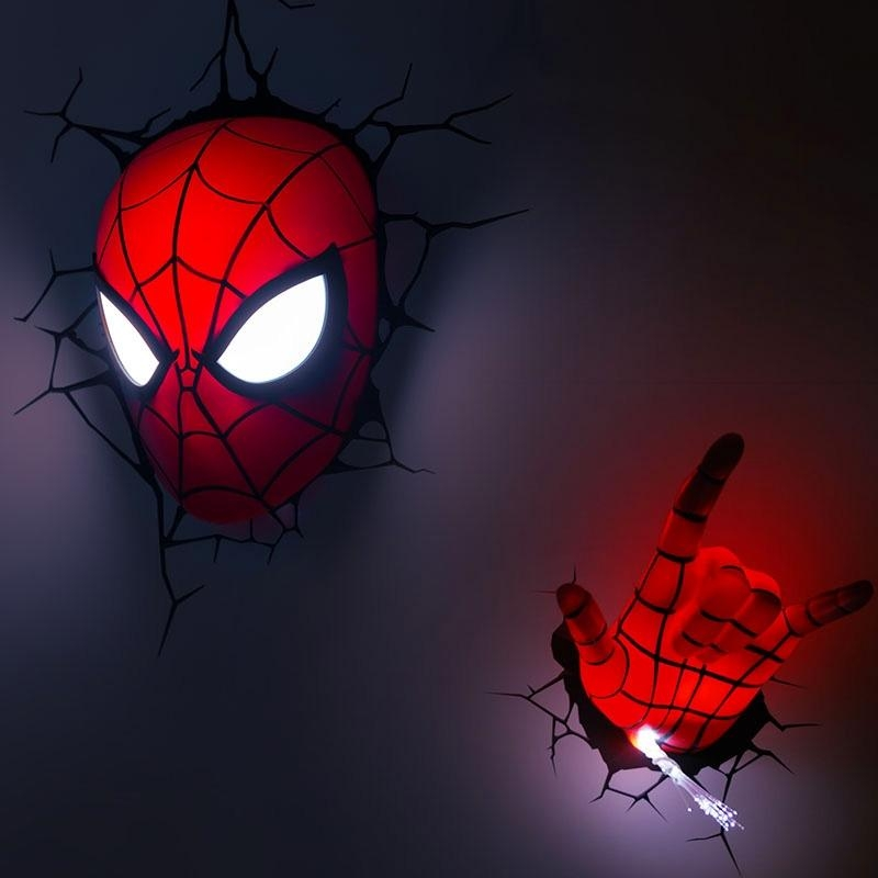 Lighting – Wall Lights – Marvel 3D Wall Nightlight – Spiderman Hand With The Avengers 3D Wall Art Nightlight (View 19 of 20)