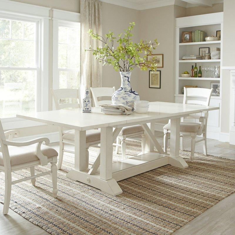 Lisbon Extendable Dining Table & Reviews | Birch Lane With Regard To Newest White Extending Dining Tables And Chairs (View 8 of 20)