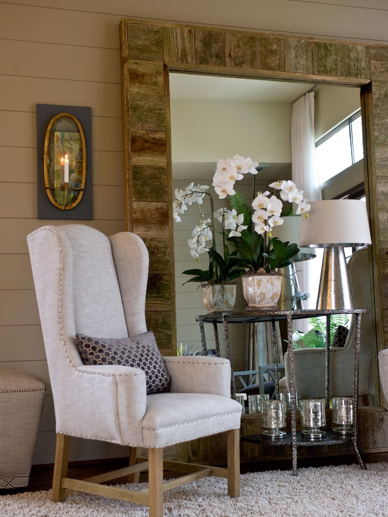 Living Room Attractive Ideas For Decorating A Large Wall In With Throughout Modern Living Room Mirrors (Image 15 of 20)