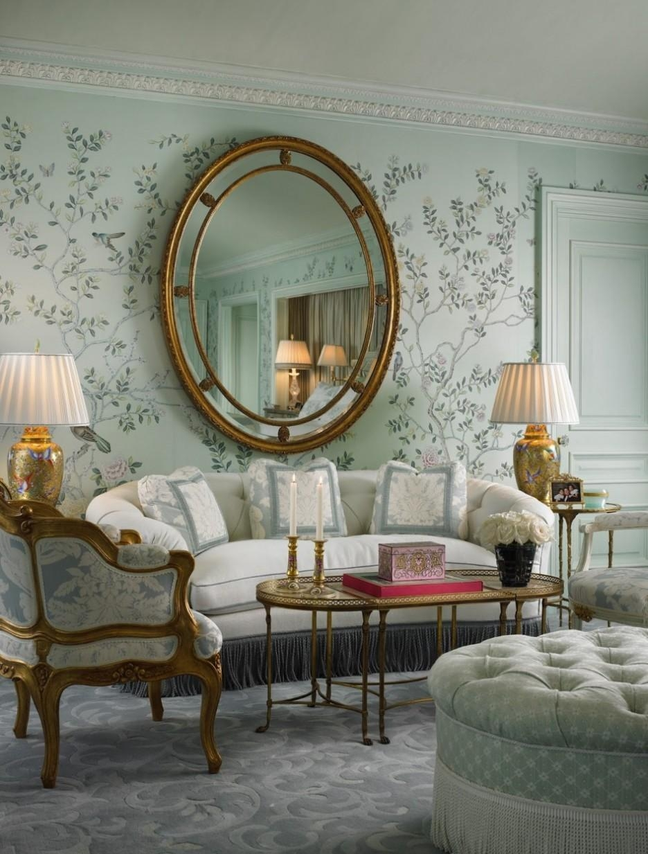 Living Room : Living Room Mirror Wall With Round Gold Frame Finish For Damask Mirrors (View 12 of 20)