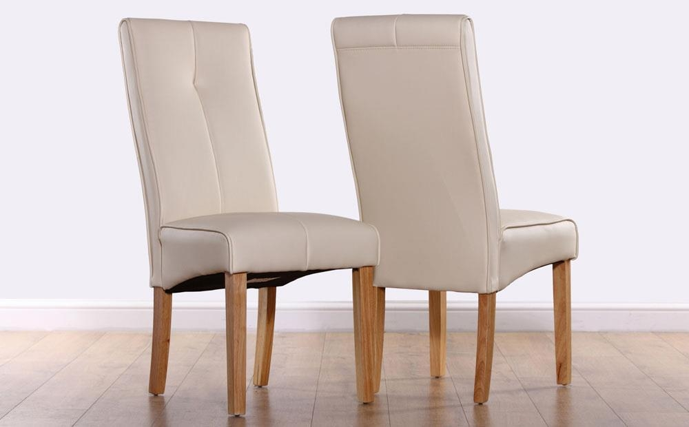 Logan Ivory Leather Dining Chair (Oak Leg) Only £ (Image 15 of 20)