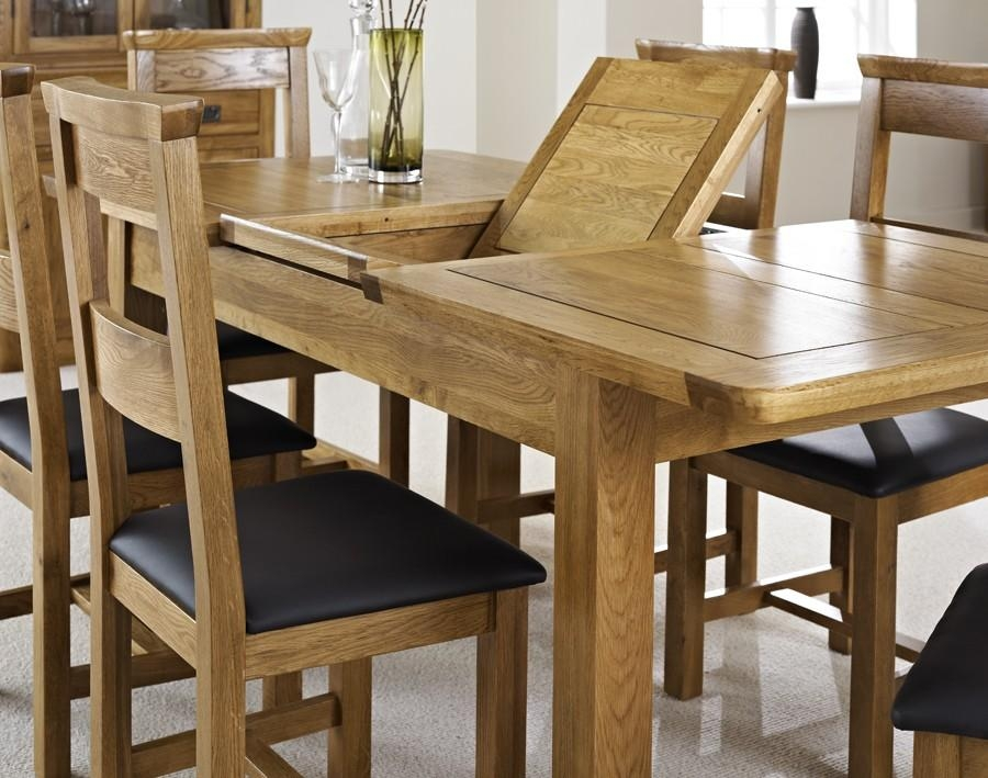 London Dark Oak Extending Dining Table With Four Chairs – Package Throughout Current Extendable Oak Dining Tables And Chairs (Image 11 of 20)