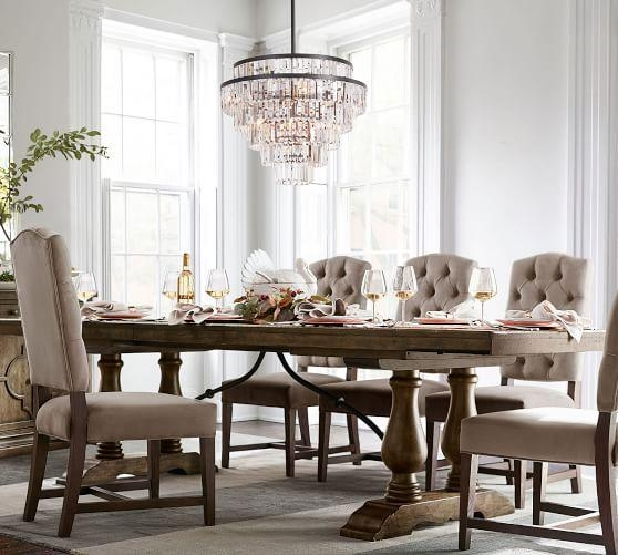 Lorraine Extending Dining Table, Hewn Oak | Pottery Barn Within Most Current Extendable Dining Tables And Chairs (View 5 of 20)