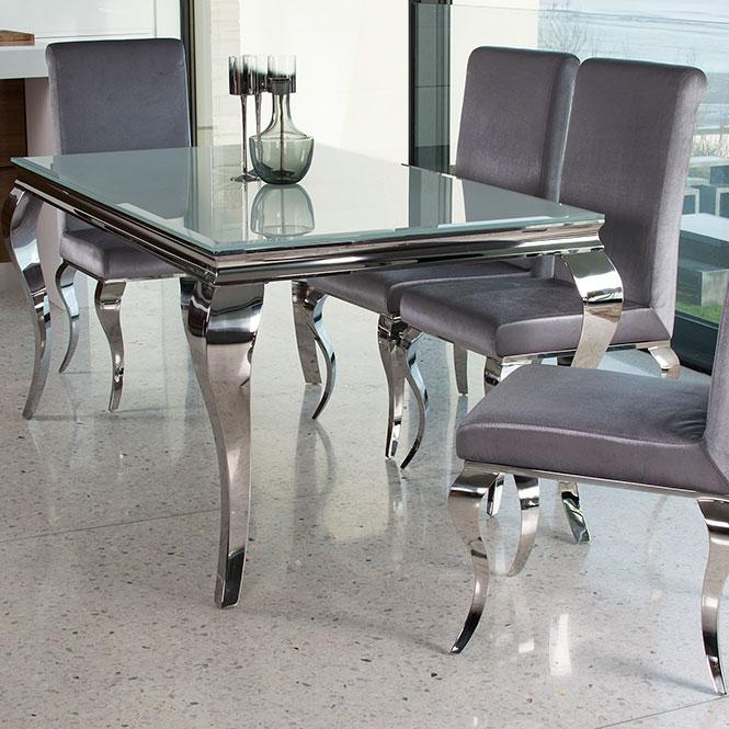 Louis Contemporary Black Or White Glass & Chrome 2M 7 Piece Dining Regarding Most Popular Chrome Dining Tables And Chairs (Image 17 of 20)