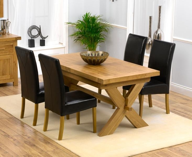 Lovable Oak Dining Table And Chairs With Designs Solid Oak Dining Throughout Oak Extending Dining Tables And 4 Chairs (View 6 of 20)