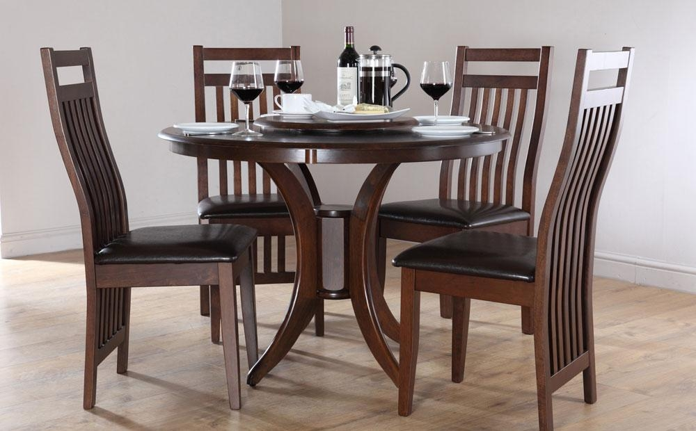 Lovable Wood Dining Room Table Sets Contemporary Round Kitchen Throughout 2018 Dark Wood Dining Tables And Chairs (Image 15 of 20)