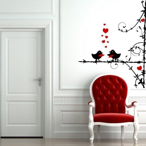 Love Birds On Barbed Wire With Vines – Vinyl Wall Art Decal Regarding Birds On A Wire Wall Art (View 19 of 20)