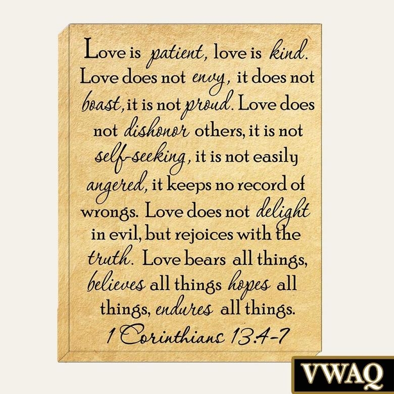 Love Is Patient Canvas Art 1 Corinthians 13:4 7 Bible Stretched With Regard To Love Is Patient Love Is Kind Wall Art (Image 11 of 20)