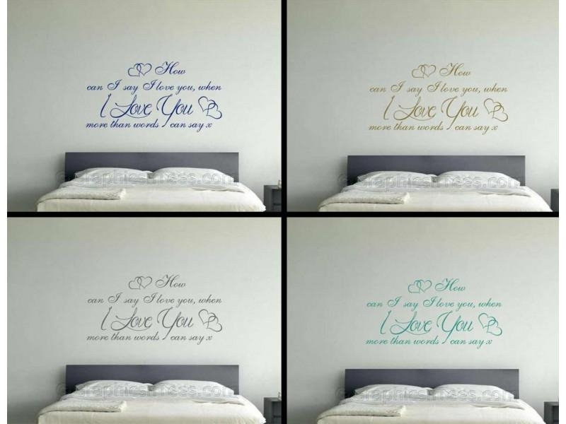 Love More Than Words Can Say, Romantic Bedroom Wall Quote Vinyl Intended For I Love You More Wall Art (Image 13 of 20)