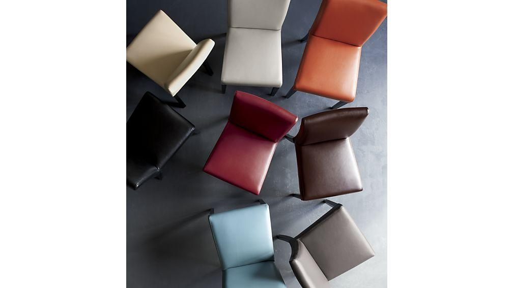 Lowe Ocean Leather Dining Chair | Crate And Barrel Intended For Red Leather Dining Chairs (Image 11 of 20)