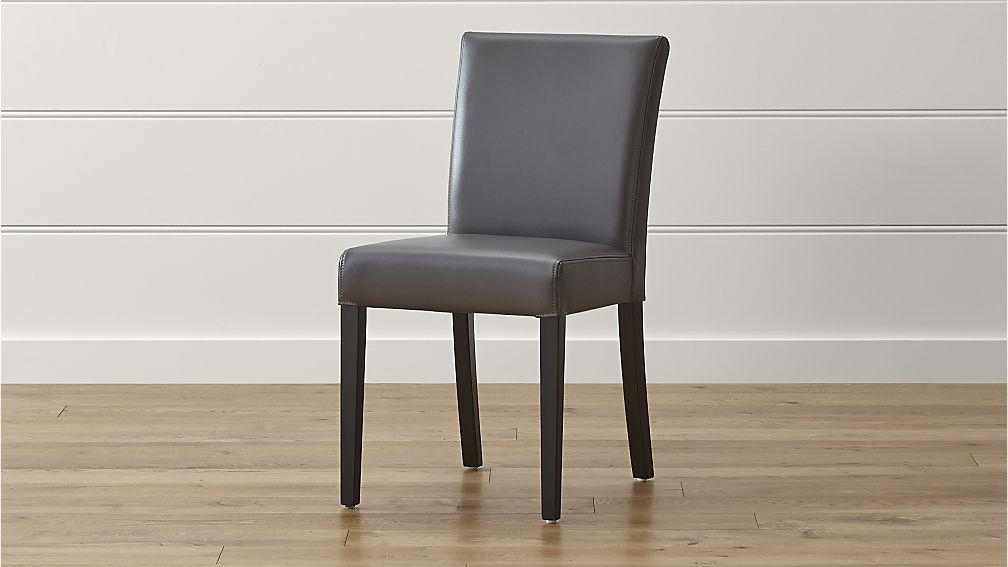 Lowe Smoke Leather Dining Chair | Crate And Barrel In Most Popular Ivory Leather Dining Chairs (View 8 of 20)