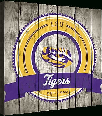Lsu Tigers Logo On Wood Canvas Picture At Lsu Tiger Photos Intended For Lsu Wall Art (Image 12 of 20)