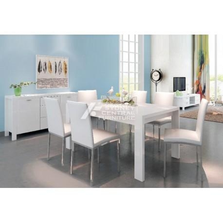 Lucia 7Pcs High Gloss Dining Suite White – Sydney Central Furniture For Newest White Dining Suites (Image 15 of 20)