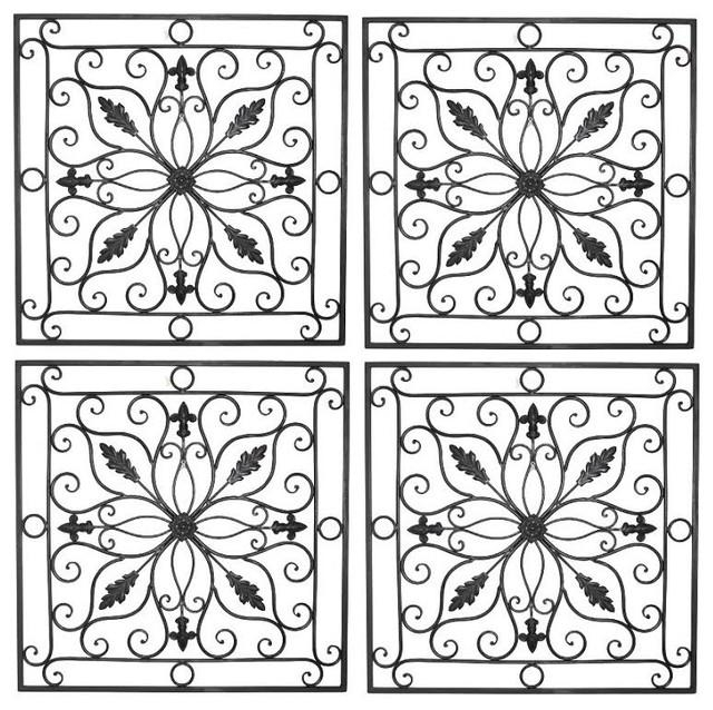 "Lucina Tuscan 24"" Square Indoor Outdoor Wrought Iron Wall Grille Inside Outdoor Wrought Iron Wall Art (Image 10 of 20)"