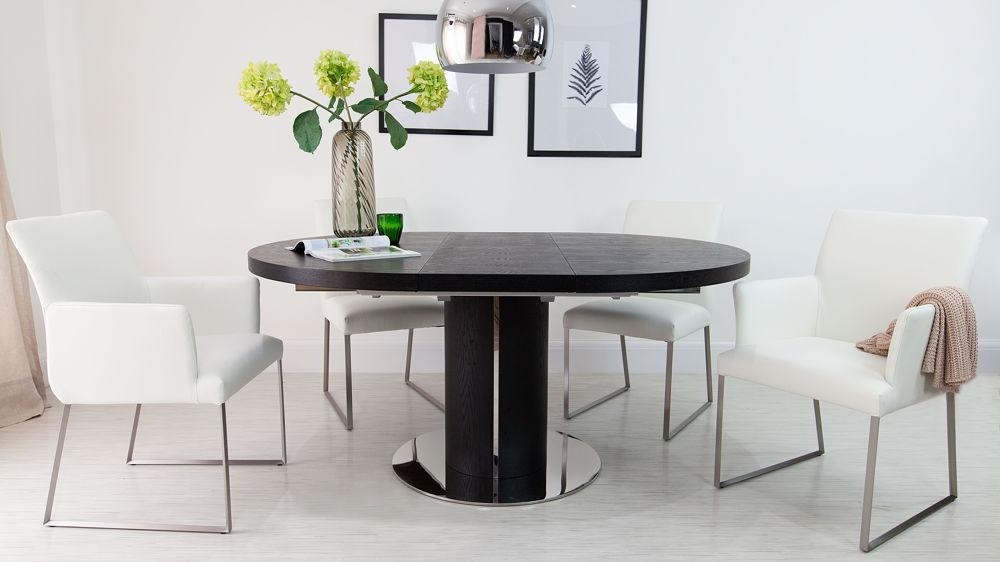 Luxurious Contemporary Black Ash/real Leather Extending Set Regarding Current Extending Black Dining Tables (Photo 8 of 20)