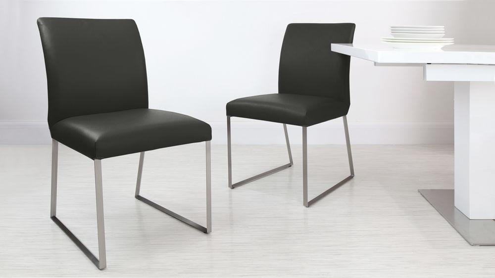 Luxurious Contemporary Real Leather And Gloss Extending Set With Regard To Real Leather Dining Chairs (Image 11 of 20)