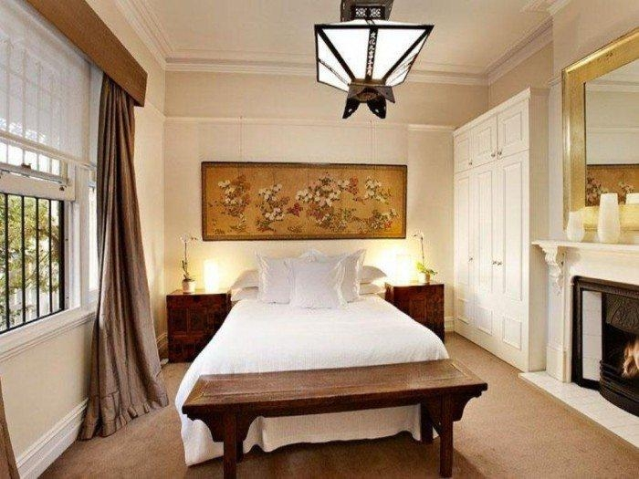 Luxury Asian Bedroom Theme With Oriental Wall Art And Houseplant Regarding Exotic Wall Art (Image 13 of 20)