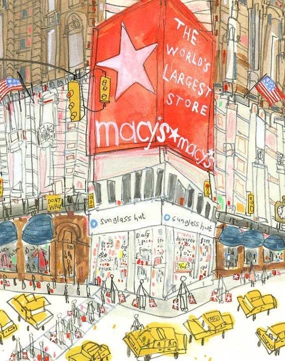 Macys Print New York Illustration Nyc Wall Art 8 X 10 Print Throughout Macys Wall Art (Image 15 of 20)