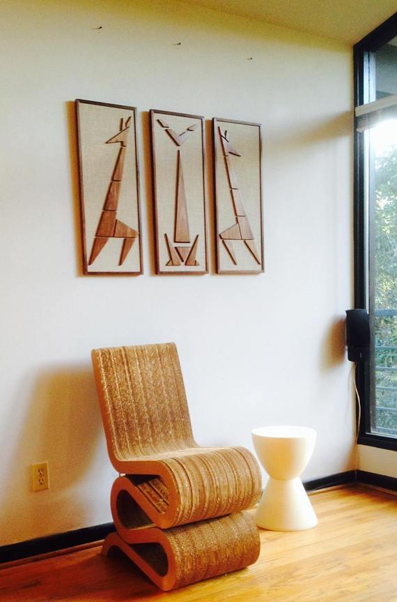 Mad Men Cat Giraffe Mid Century Modern Eames Era Triptych Art With Mad Men Wall Art (View 8 of 20)
