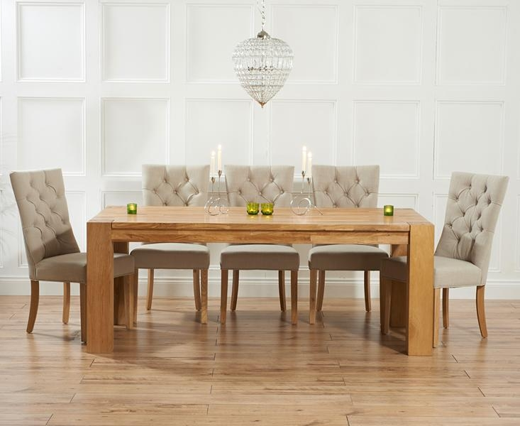 Madrid 300Cm Solid Oak Dining Table With Pacific Fabric Chairs Throughout Most Recent Oak Dining Tables And Fabric Chairs (Image 15 of 20)