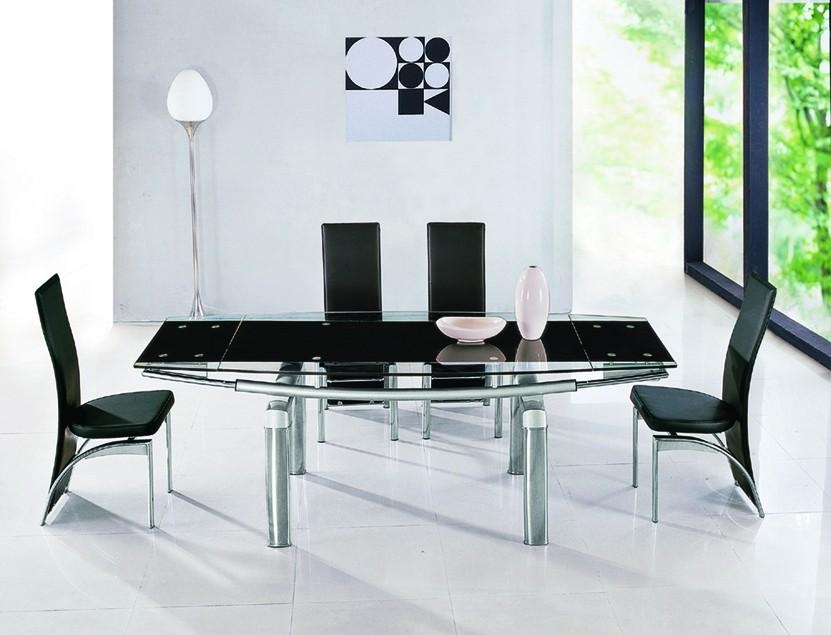 Madrid Black Extendable Glass Dining Table | Modenza Furniture Within Most Up To Date Black Extendable Dining Tables Sets (View 12 of 20)