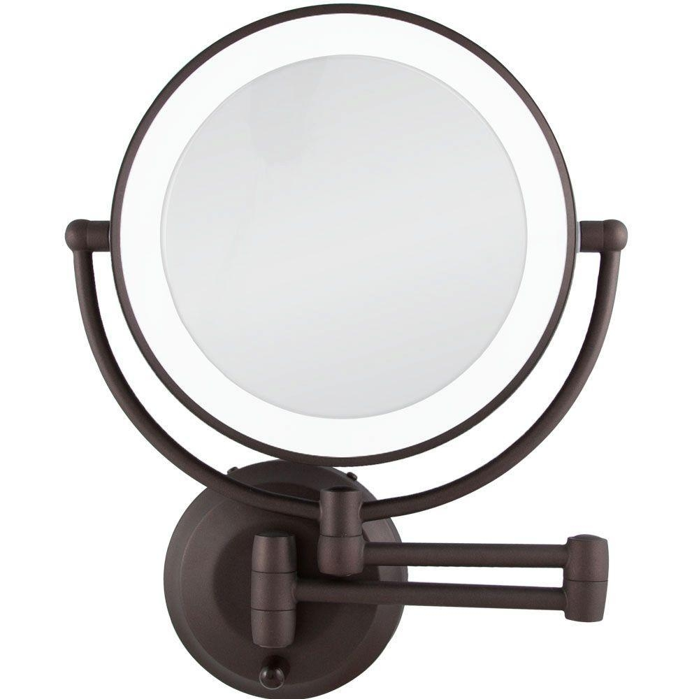 Makeup Mirrors – Bathroom Mirrors – The Home Depot Pertaining To Wall Mounted Lighted Makeup Mirrors (Image 11 of 20)