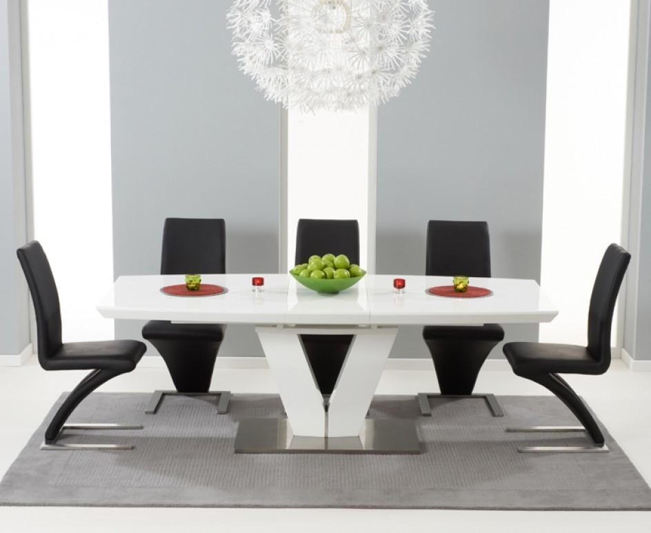 Malaga 180Cm White High Gloss Extending Dining Table With With Most Popular White High Gloss Oval Dining Tables (Image 8 of 20)